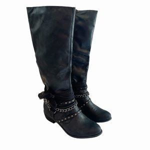 NOT RATED HEELED BOOTS Rhinestones Chains 10 M